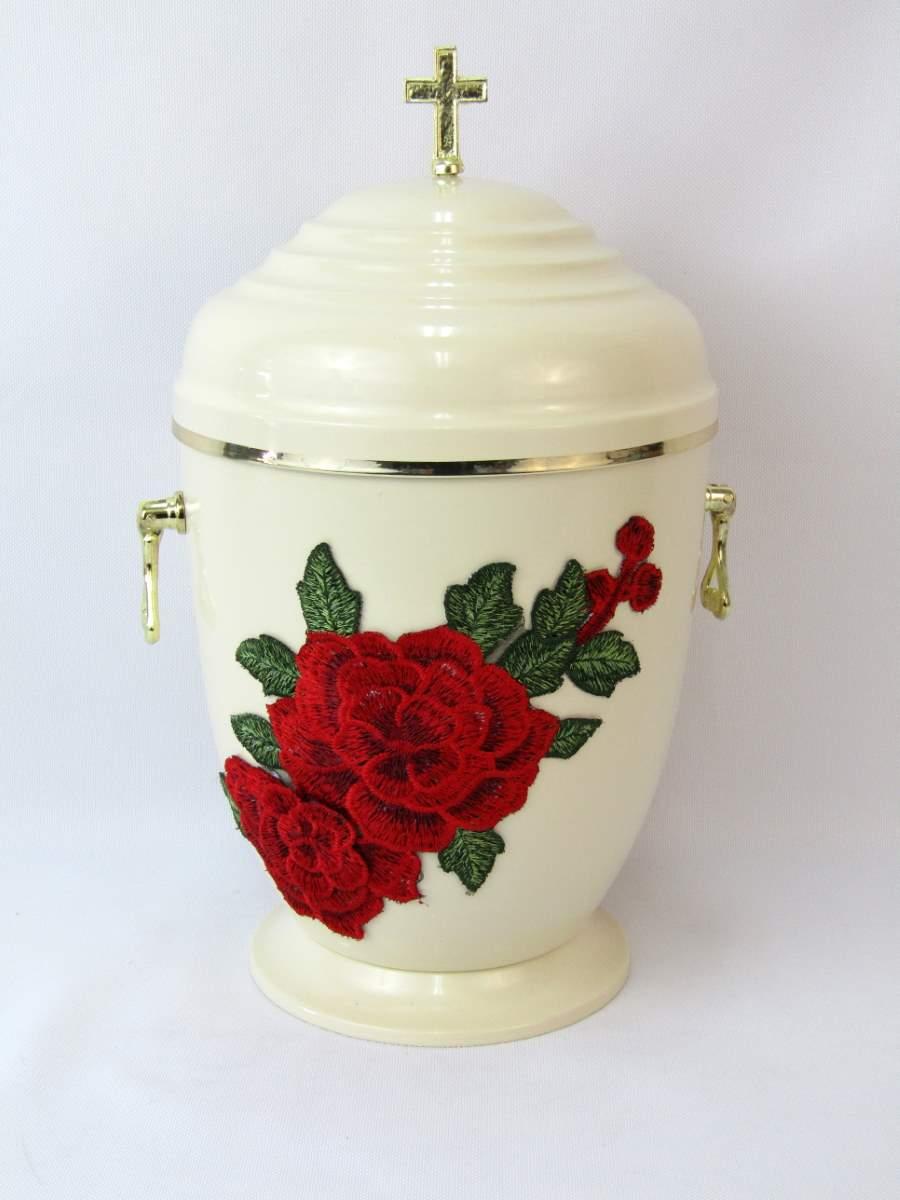 Biała urna w czerwone kwiaty