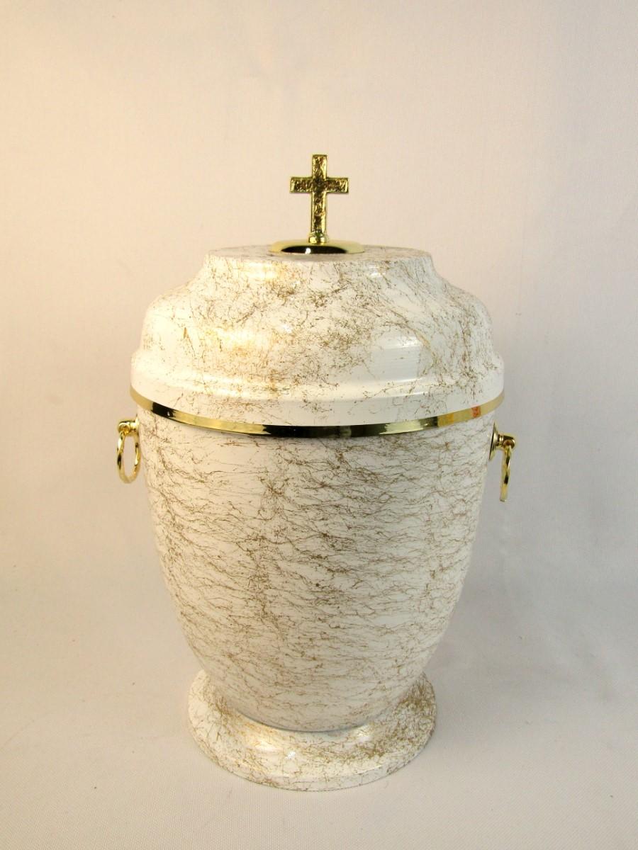 Urna metalowa biało-złota
