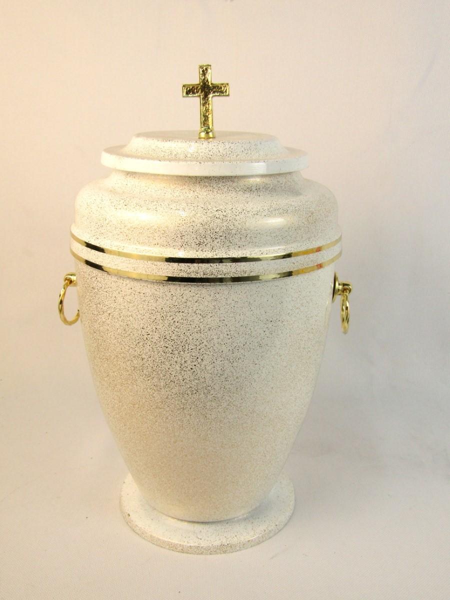 Biała urna z krzyżem